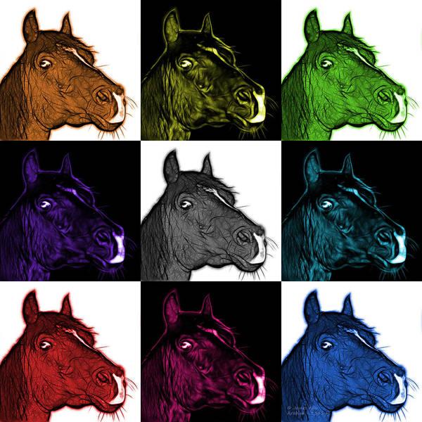 Digital Art - Mosaic Arabian Horse - 1341 M - V2 by James Ahn