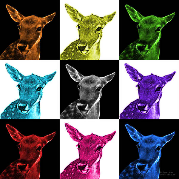 Digital Art - Mosaic Deer - 0401 M - V1 by James Ahn