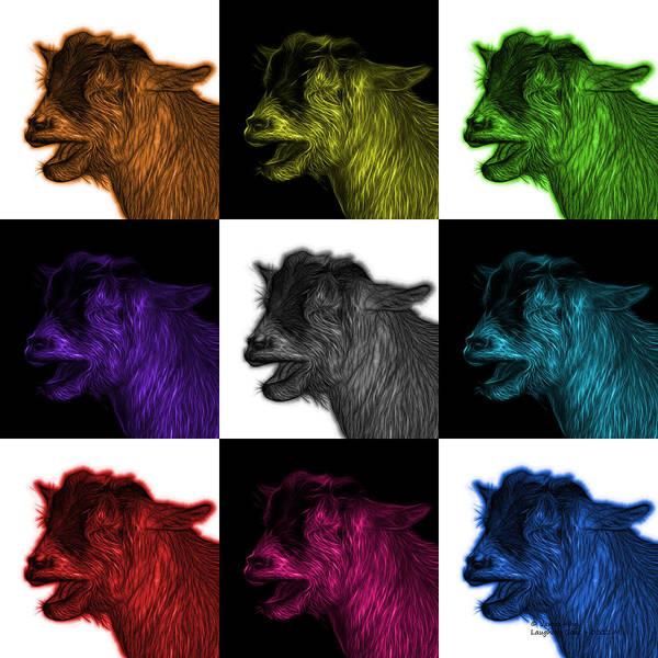 Digital Art - Mosaic Laughing Goat - 0312 F - M - V2 by James Ahn