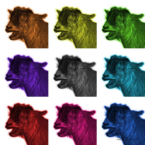 Digital Art - Mosaic Laughing Goat - 0312 F - M - Wb by James Ahn