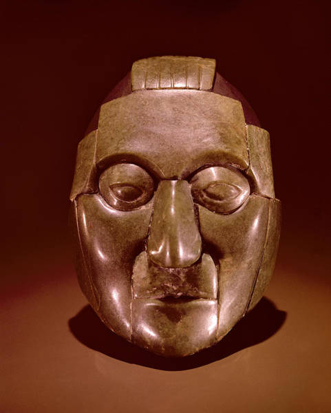 Mesoamerican Photograph - Mosaic Mask Representing An Old Man, From The Ruz Tomb Under The Temple Of The Inscriptions by Mayan