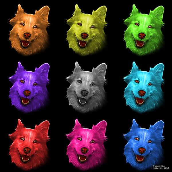 Painting - Mosaic Siberian Husky Mix Dog Pop Art - 5060 Bb - M by James Ahn