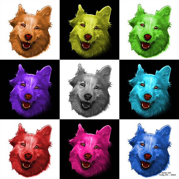 Painting - Mosaic Siberian Husky Mix Dog Pop Art - 5060 V2 - M by James Ahn