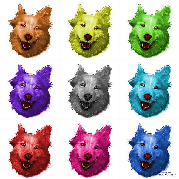 Painting - Mosaic Siberian Husky Mix Dog Pop Art - 5060 Wb - M by James Ahn