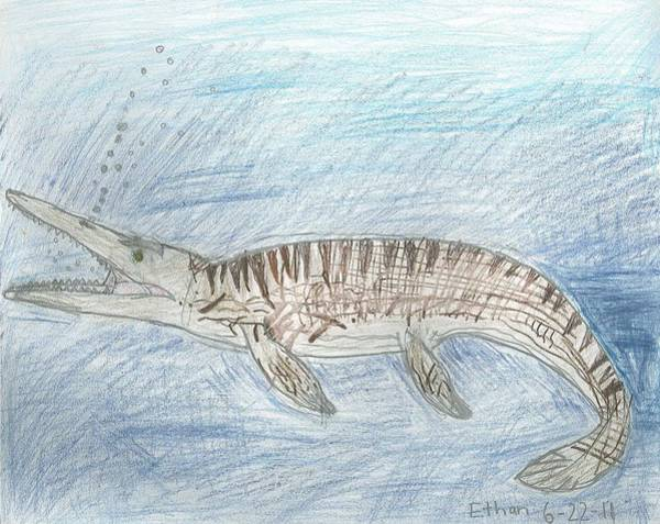 Drawing - Mosasaur Hunting by Fred Hanna