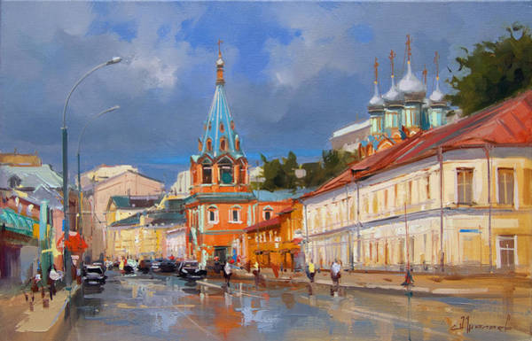 City Landscape Wall Art - Painting - Moscow.bolshaya Polyanka Street by Alexey Shalaev