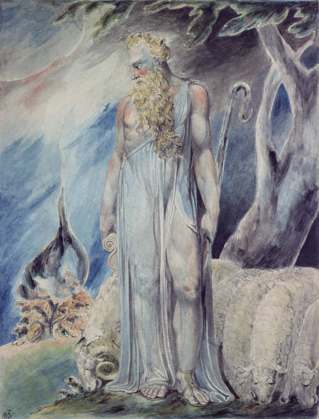 Miracle Painting - Moses And The Burning Bush by William Blake