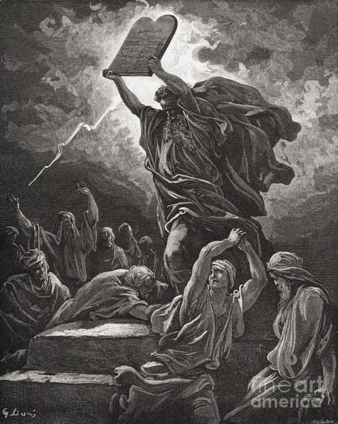 Lightning Painting - Moses Breaking The Tablets Of The Law by Gustave Dore