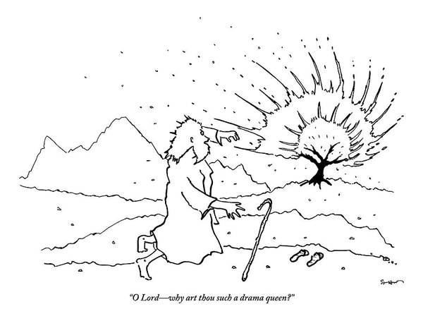 Bush Drawing - Moses Comments While A Tree Burns In The Distance by Michael Shaw