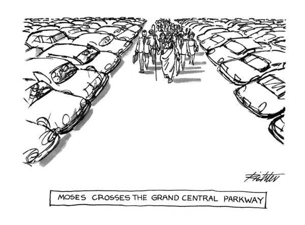 Traffic Drawing - Moses Croses The Grand Central Parkway by Mischa Richter
