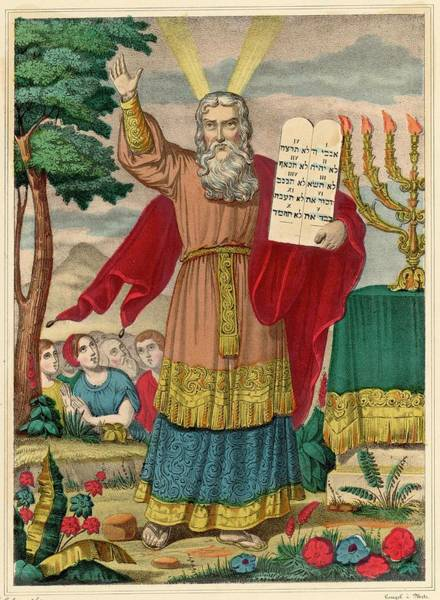 Wall Art - Drawing - Moses Exhibits The Tables Of The Law by Mary Evans Picture Library