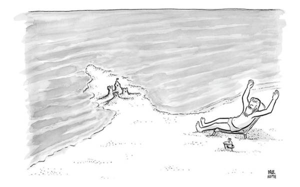 Sand Drawing - Moses Is Laying On A Beach Chair Parting The Sea by Paul Noth