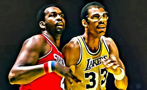 76ers Painting - Moses Malone With Kareem Abdul-jabbar by Florian Rodarte
