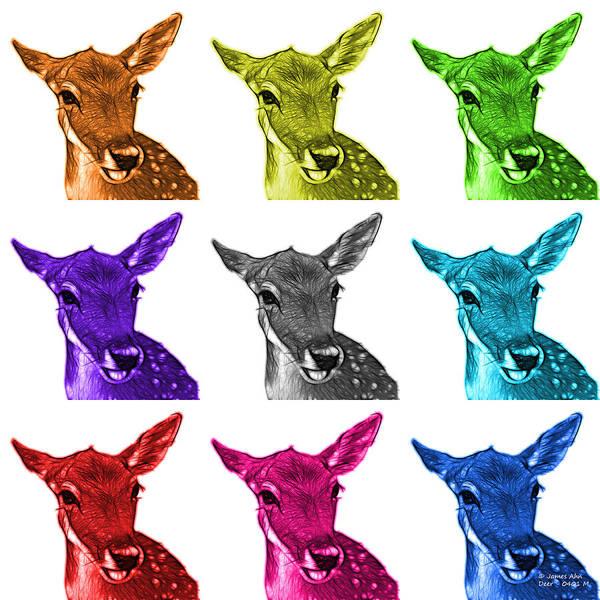 Digital Art - Mosiac Deer - 0401 M - Wb by James Ahn
