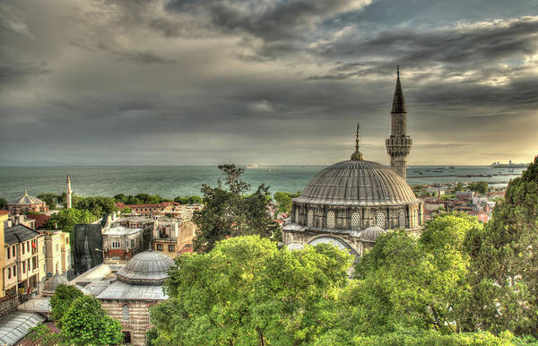 High Dynamic Range Imaging Photograph - Mosque At Dusk In Istanbul by A. J. Plumptre