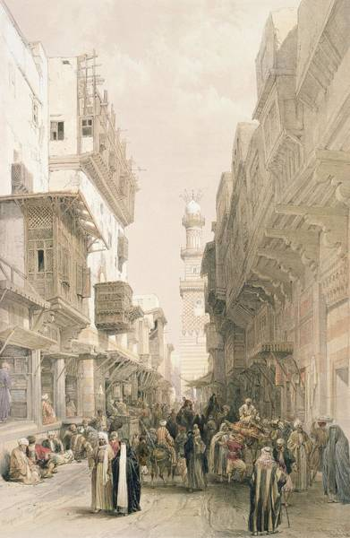 Balcony Drawing - Mosque El Mooristan, Cairo, From Egypt by David Roberts