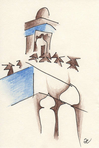 Drawing - Mosque From Cafe Clock by Anna Elkins