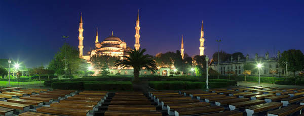 Minarets Photograph - Mosque Lit Up At Night, Blue Mosque by Panoramic Images