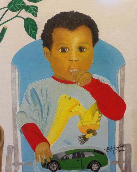 Thumb Painting - Mossiah My Grandson by Nicole Jean-Louis