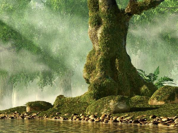 Digital Art - Mossy Old Oak by Daniel Eskridge