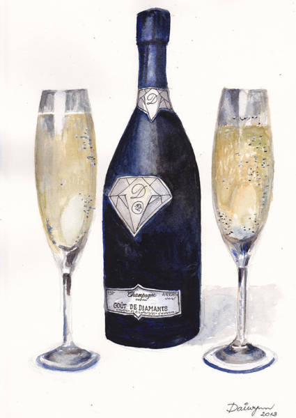 Gold Painting - Most Expensive Champagne In The World by Dai Wynn