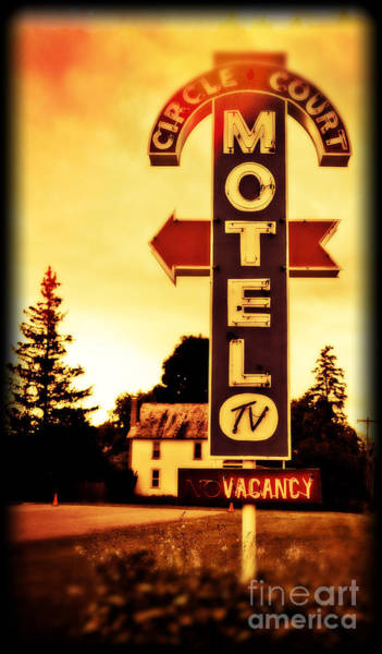 Vintage Neon Sign Photograph - Motel Hell by Edward Fielding