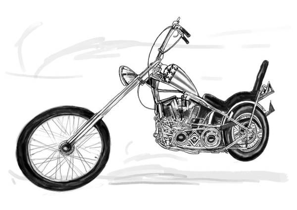 Harley Davidson Painting - Motercycle  Drawing Art Sketch - 6 by Kim Wang
