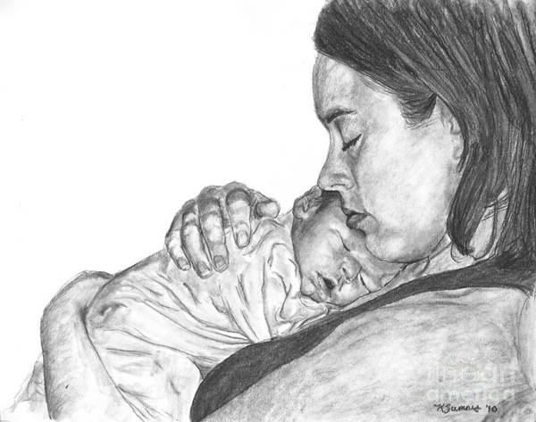 Drawing - Mother And Baby Portrait Drawing by Kate Sumners