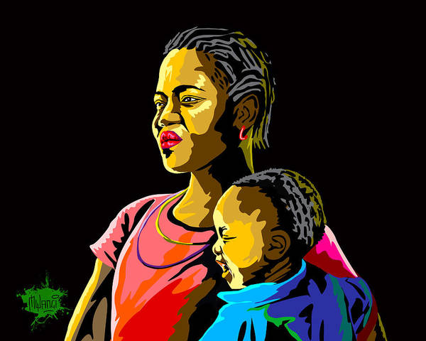 Parenthood Digital Art - Love Of A Mother by Anthony Mwangi