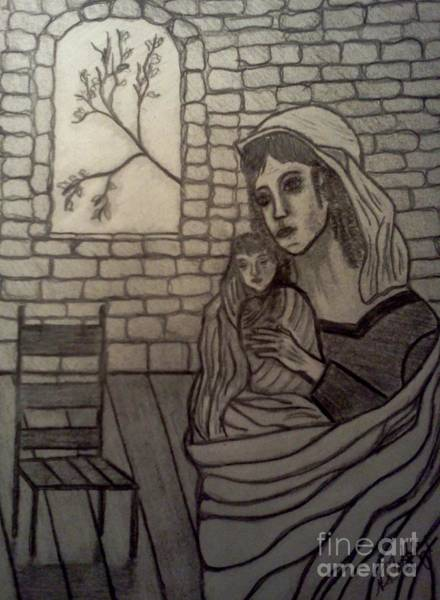 Drawing - Mother And Child by Neil Stuart Coffey