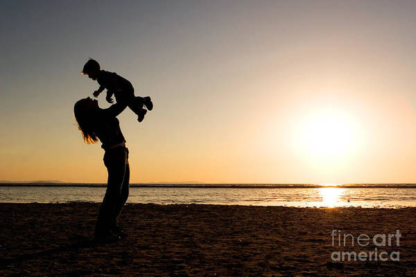 Photograph - Mother And Child Silhouette by Cindy Singleton