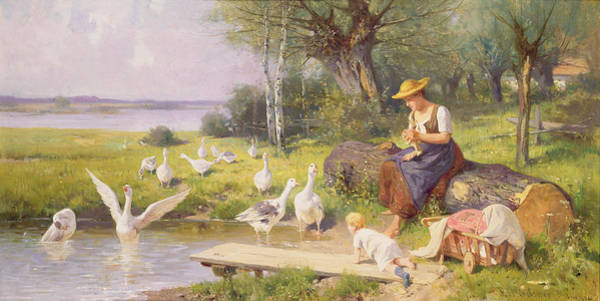 Stump Painting - Mother And Child With Geese by Adolf Ernst Meissner