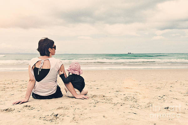 All Together Photograph - Mother And Daughter On Beach by Justin Paget