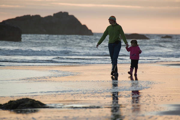 Wall Art - Photograph - Mother And Daughter Walk Along Beach by Henry Georgi