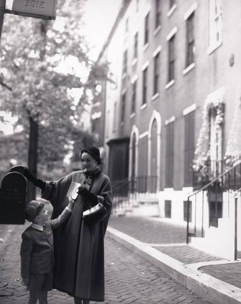 Wall Art - Photograph - Mother And Son By A Mailbox by Horst P. Horst