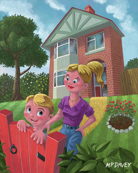 Wall Art - Painting - Mother And Son In Garden by Martin Davey
