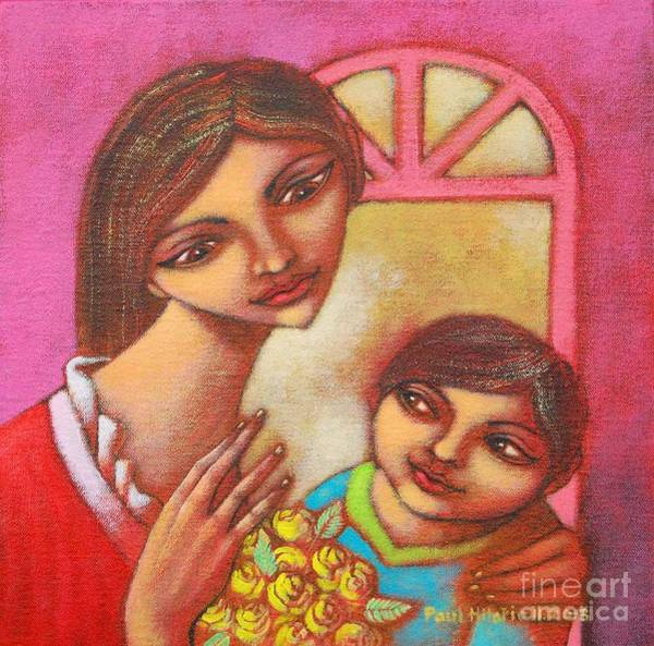 Wall Art - Painting - Mother Child And A Bouquet by Paul Hilario