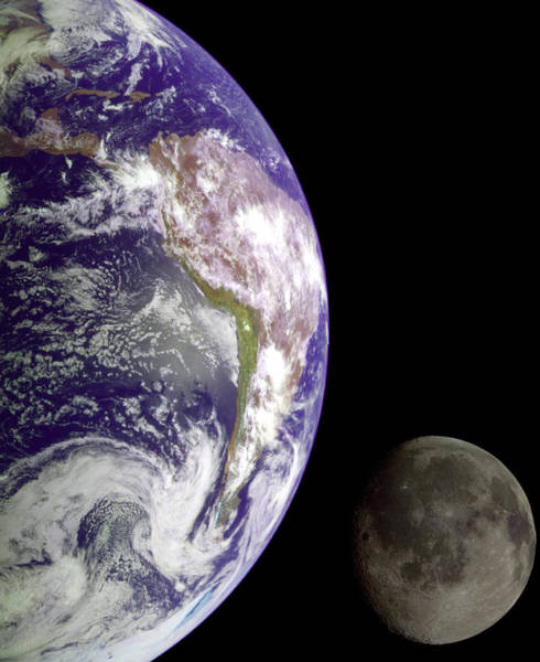 Photograph - Mother Earth And Her Moon by Nasa Usgs