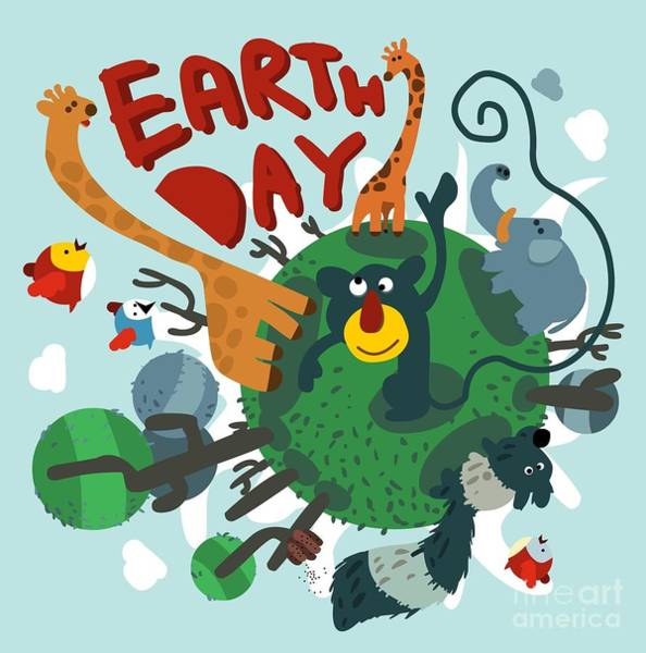 Wall Art - Digital Art - Mother Earth Day. Vector Illustration by Maraga