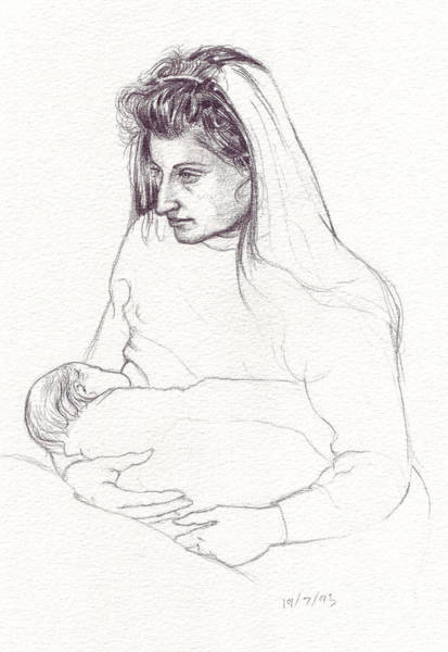 Drawing - Mother Feeding Baby by Russell Kightley