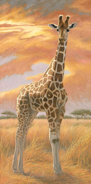 Grass Painting - Mother Giraffe by Lucie Bilodeau