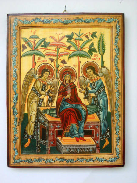 Greek Icon Painting - Mother Of God In Heaven With The Archangels Hand Painted Holy Orthodox Wooden Icon by Denise Clemenco