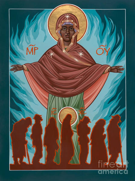 Mother Of Sacred Activism With Eichenberg's Christ Of The Breadline Art Print