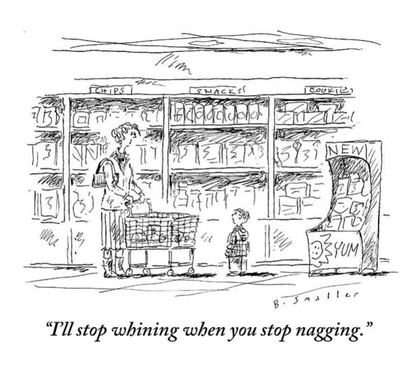 Annoying Drawing - Mother Pushing Grocer by Barbara Smaller