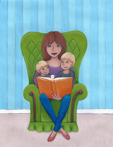 Wall Art - Painting - Mother Reading by Christy Beckwith