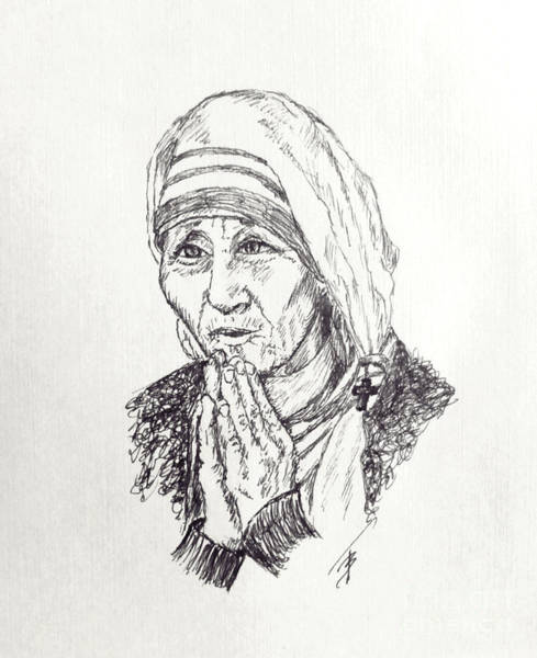 Drawing - Mother Teresa by Art By - Ti   Tolpo Bader