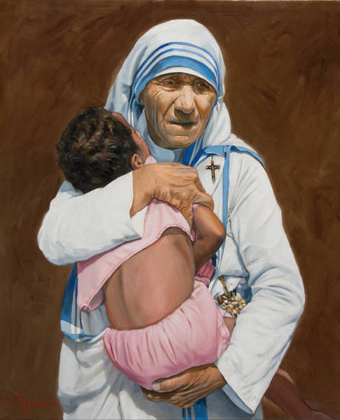 Adoption Wall Art - Painting - Mother Teresa Holding A Child by Dominique Amendola