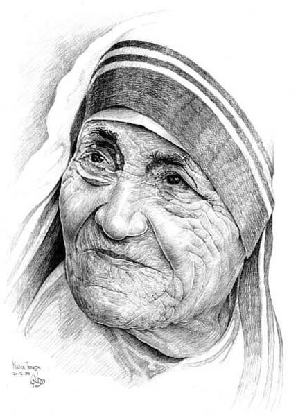 Holy Ghost Drawing - Mother Theresa by Vlado Ondo
