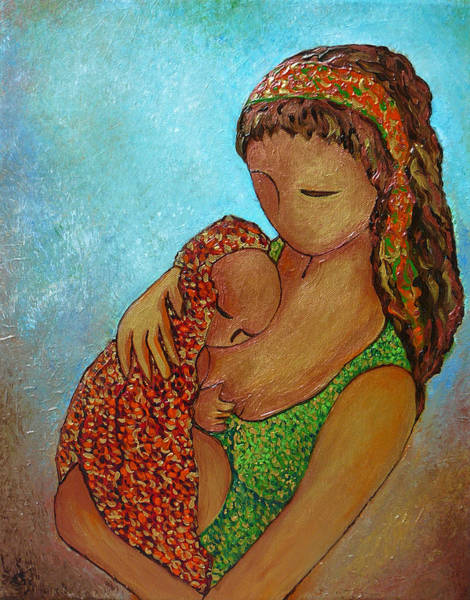 Acrylic Paints Painting - Motherhood Painting Just Close To You Original By Gioia Albano by Gioia Albano