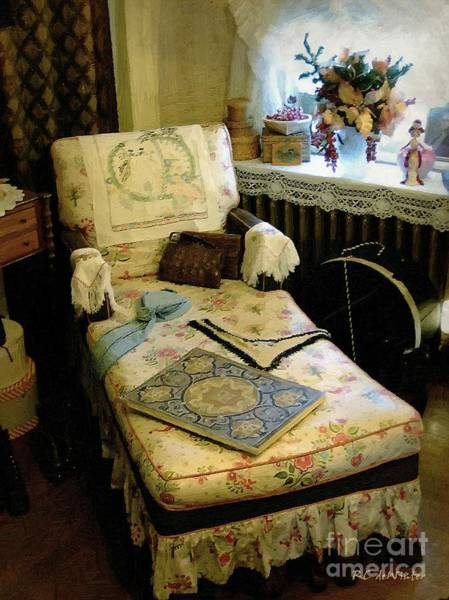 Painting - Mother's Chintz Chaise In The Corner by RC DeWinter